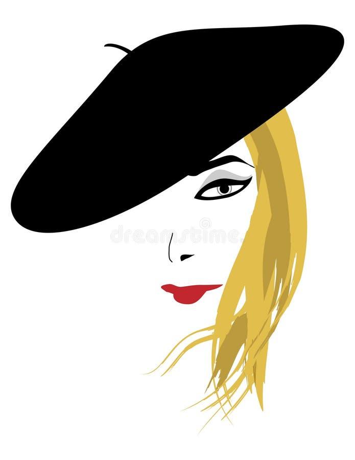 Une blonde dans un béret noir illustration de vecteur