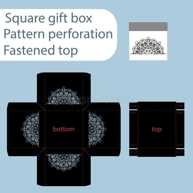 Une boîte de papier carrée, boîte est attachée avec un couvercle, calibre coupé, papier cadeau, calibre de coupe de laser, les cô illustration libre de droits