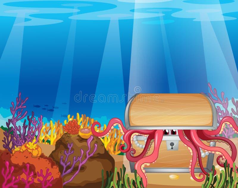 Une boîte de trésor avec un poulpe illustration libre de droits