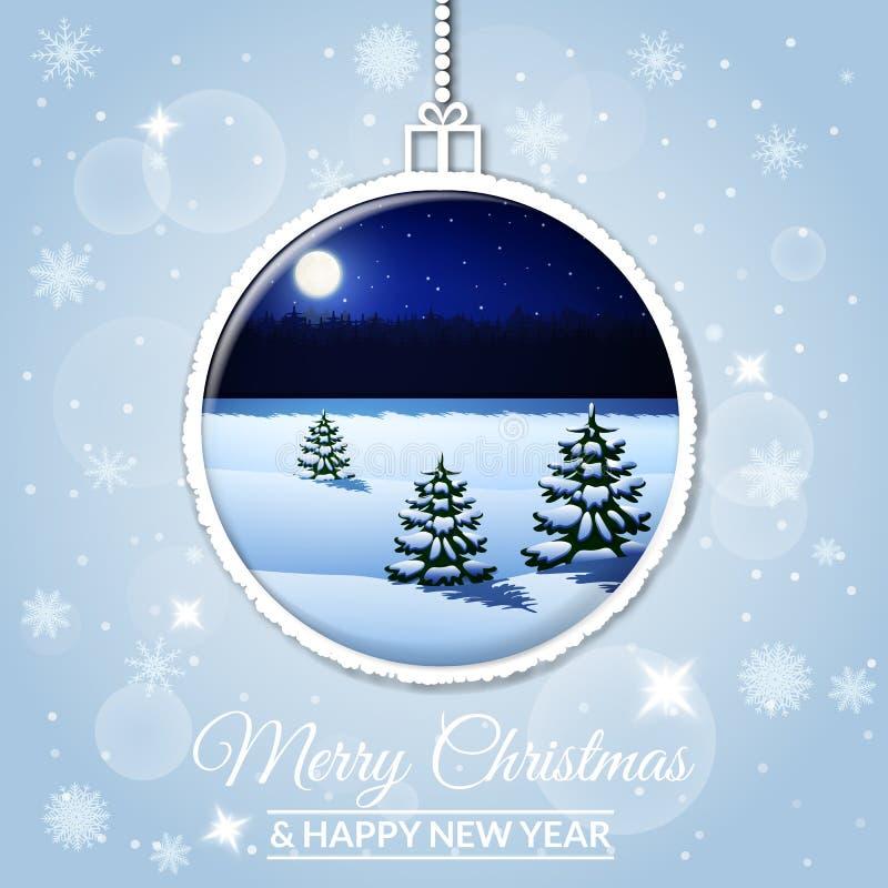 Une boule de Noël décorée d'un paysage d'hiver illustration libre de droits