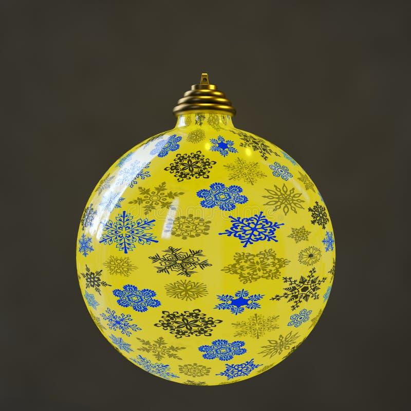 Une boule de Noël sur un blackground noir illustration de vecteur