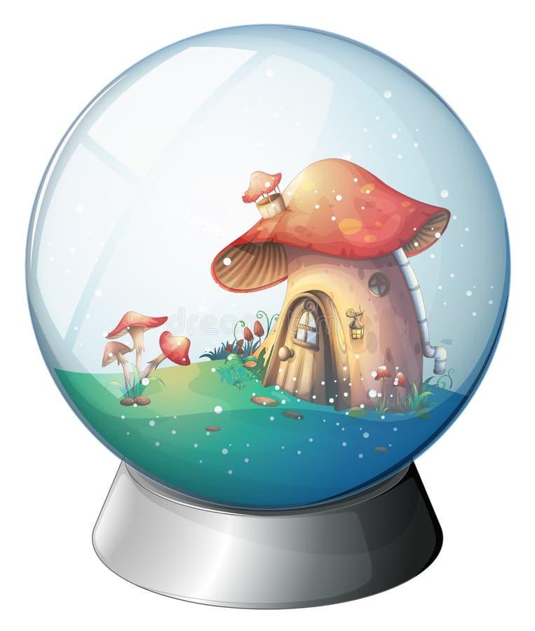 Une boule magique avec une maison de champignon illustration libre de droits