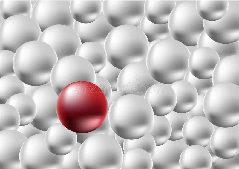 Une boule rouge se tenant parmi la foule de la boule argentée, concept de différence illustration libre de droits
