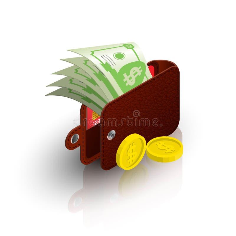Une bourse ouverte avec coller les billets et le mensonge dolar de pièces illustration stock