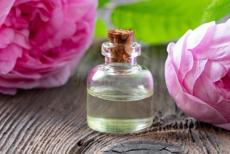 Une bouteille d'huile essentielle rose avec les fleurs roses de mai photographie stock libre de droits