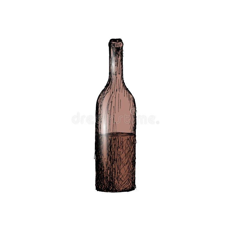 Une bouteille d'illustration tirée par la main de vecteur de croquis de vintage de vin illustration stock