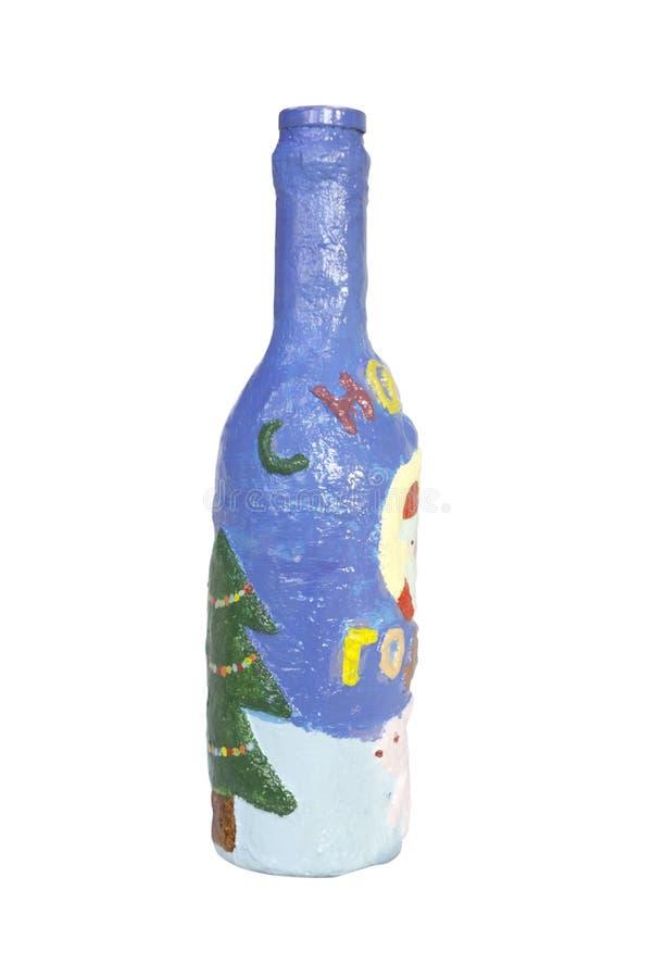 Une bouteille de gypse et de verre de concepteur avec l'inscription : Bonne année dans le Russe image libre de droits