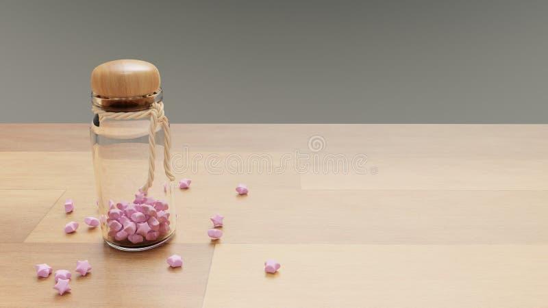 Une bouteille de papier rose ouvrant des étoiles images stock