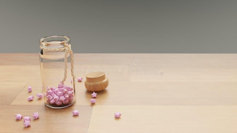 Une bouteille de papier rose ouvrant des chapeaux d'étoiles s'est ouverte photo libre de droits