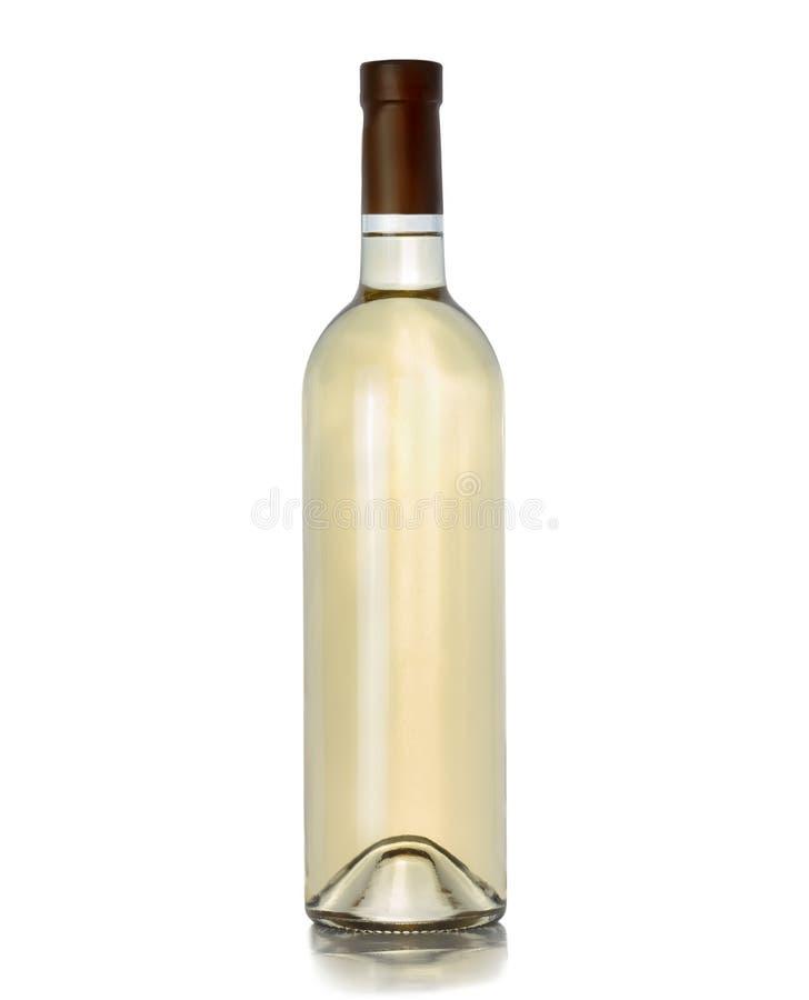 Une bouteille de vin blanc sur un fond blanc image stock
