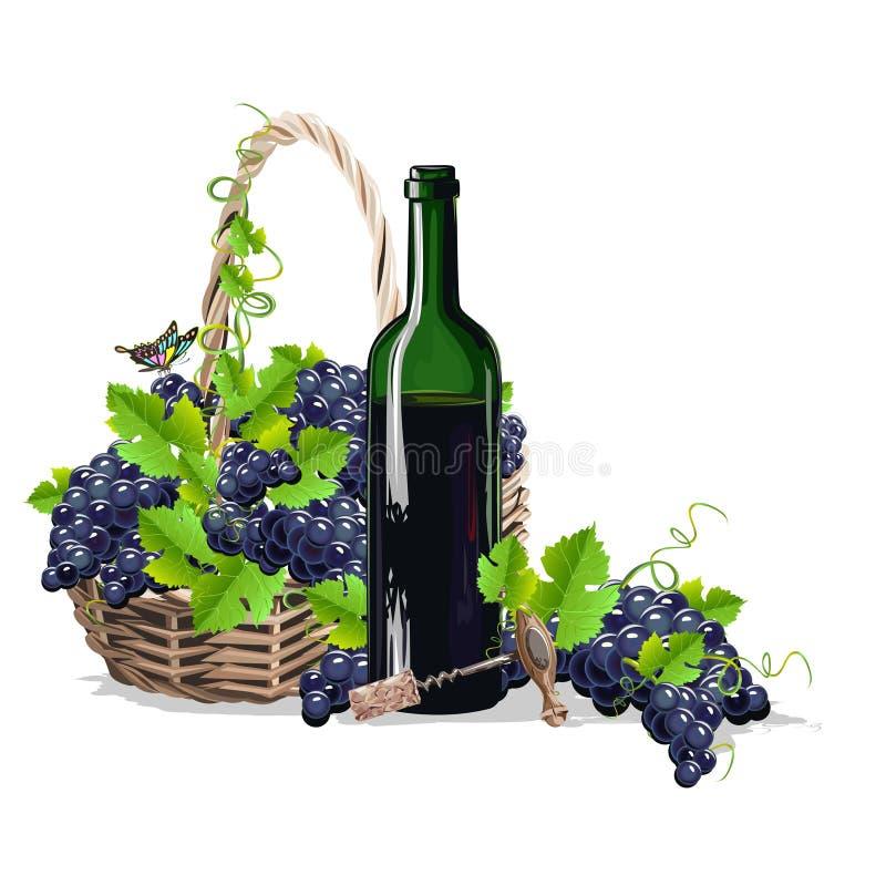 Une bouteille de vin et un panier des raisins illustration libre de droits