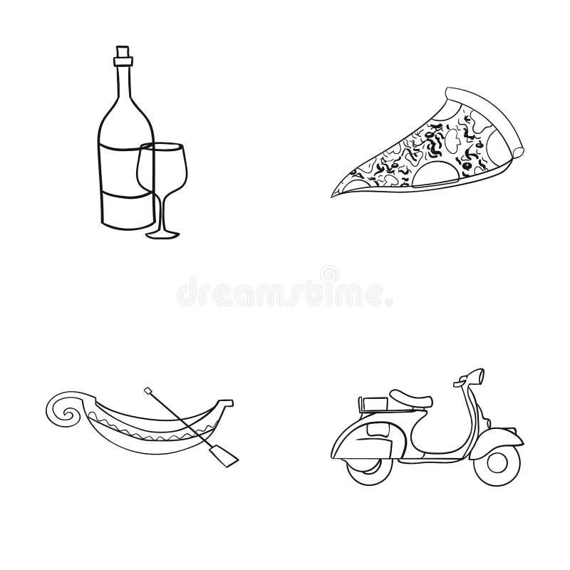 Une bouteille de vin, un morceau de pizza, un gundola, un scooter Les icônes réglées de collection de l'Italie dans le style d'en illustration libre de droits