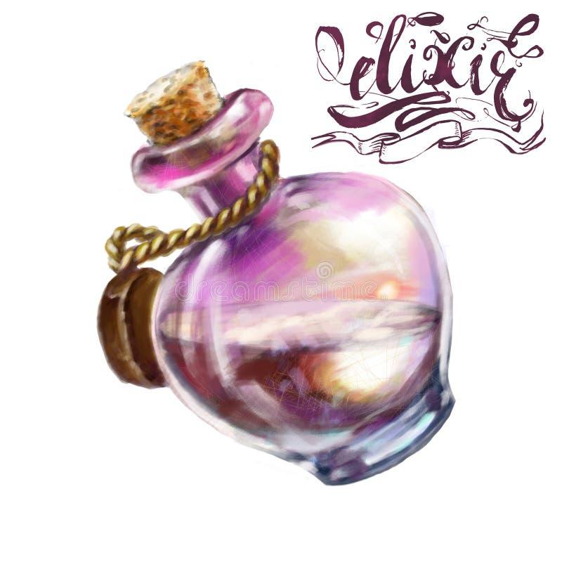 une bouteille fantastique d'élixir pour le jeu illustration de vecteur