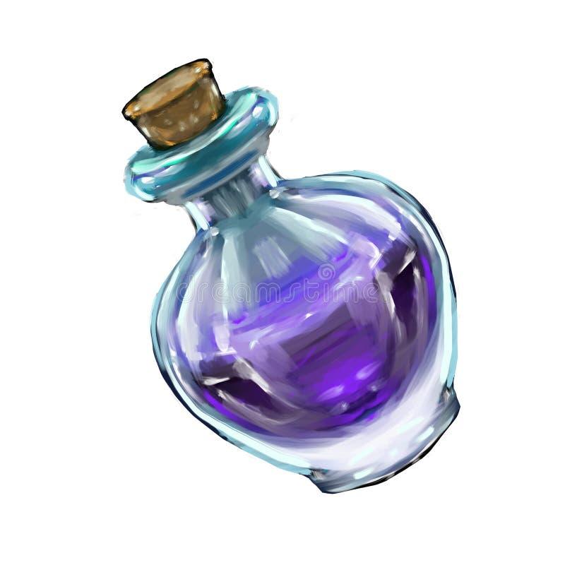 une bouteille fantastique d'élixir pour le jeu illustration stock