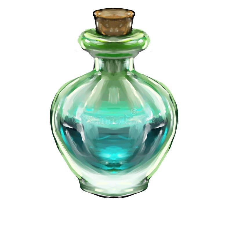 une bouteille fantastique d'icône d'élixir pour le jeu illustration de vecteur
