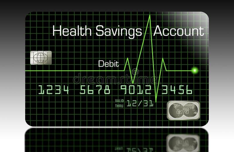 Une carte de débit de compte d'épargne d'épargnes de santé illustration de vecteur