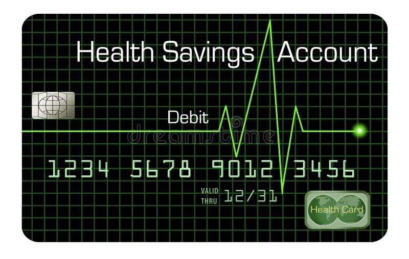 Une carte de débit de compte d'épargne d'épargnes de santé est décrite ici illustration stock