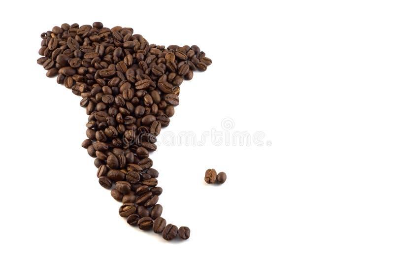 Une carte de l'Amérique du Sud a fait du concept de grains de café D'isolement photographie stock