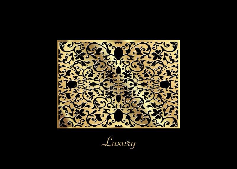 Une carte de luxe de vecteur de vintage Fond noir avec de beaux ornements et cadre d'or Décoratif fleuri d'or Schéma, dentelle illustration libre de droits