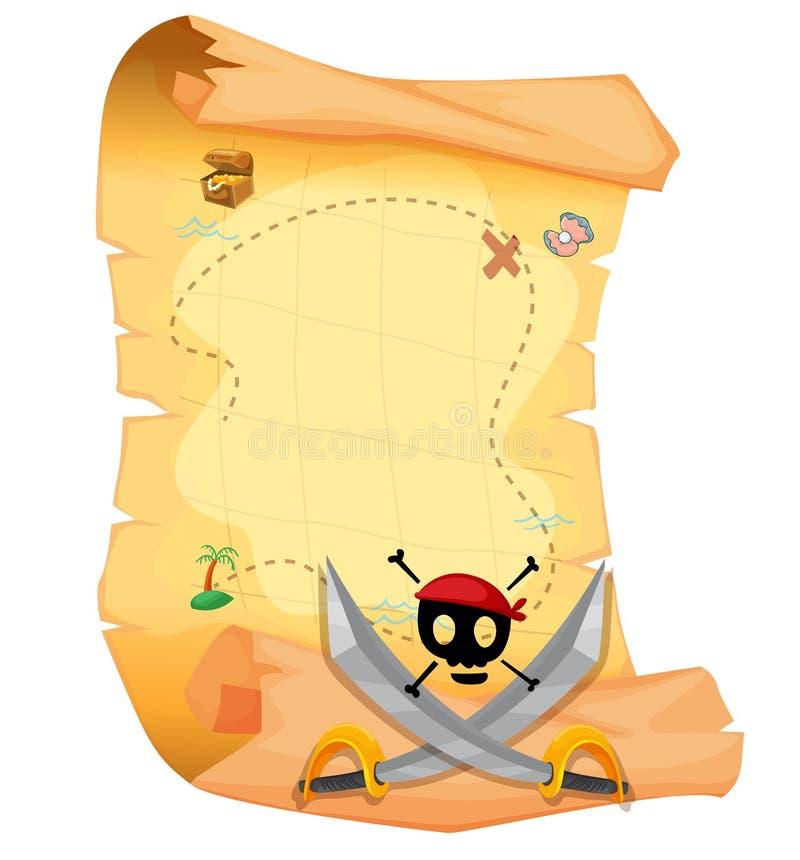 Une carte de trésor avec un crâne et des épées pointues illustration stock