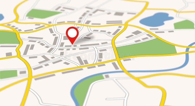 Une carte générique de ville avec une goupille illustration de vecteur