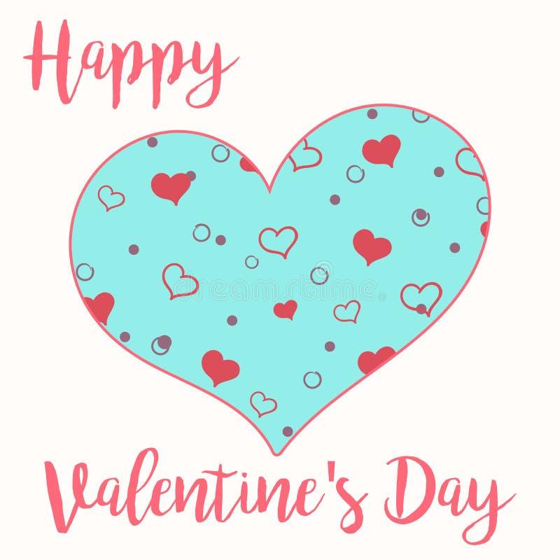 Une carte pour le jour du ` s de Valentine avec le grand coeur modelé illustration libre de droits