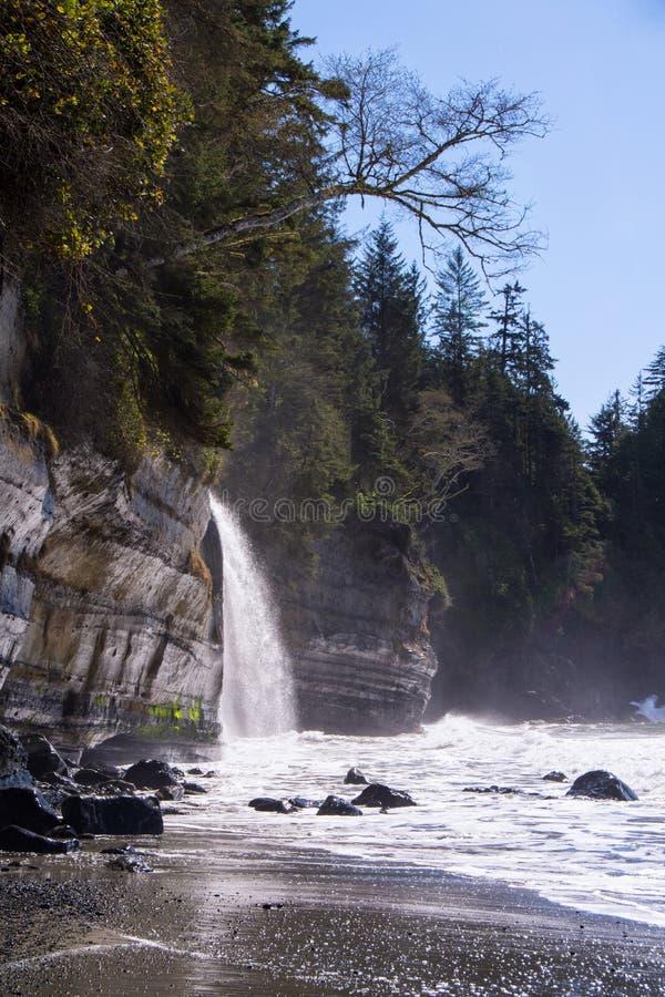 Une cascade à distance sur la côte ouest du Canada photos libres de droits