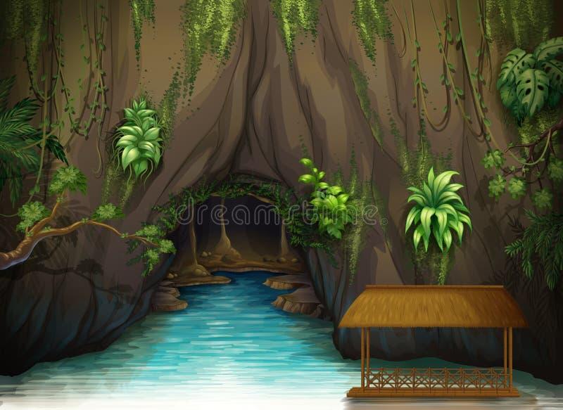 Une caverne, une eau et une nuance en bois illustration de vecteur
