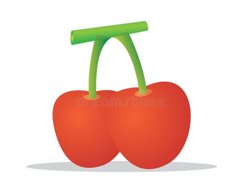 Une cerise est le fruit de beaucoup d'usines du genre Prunus, et est un fruit à noyau charnu de drupes illustration libre de droits