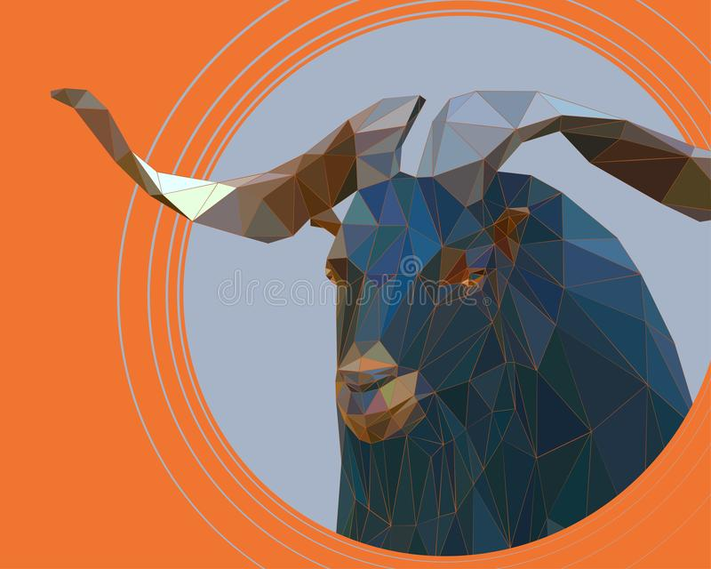 Une chèvre de montagne avec de grands klaxons tordus illustration libre de droits