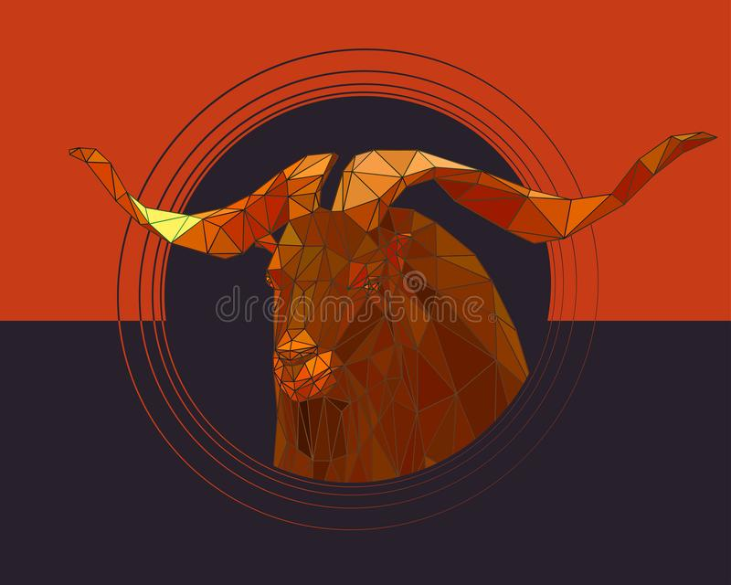 Une chèvre de montagne avec de grands klaxons tordus illustration de vecteur
