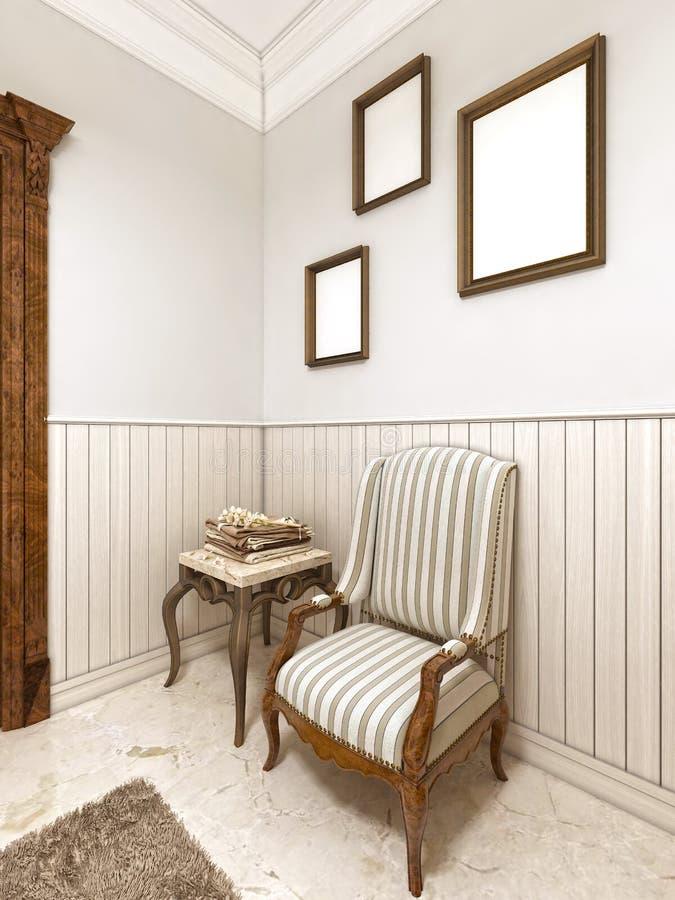 Une chaise confortable dans la basse toile de table classique de style anglais illustration de vecteur