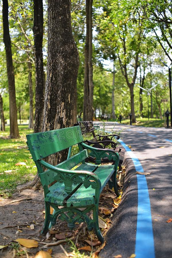 Une chaise verte photographie stock
