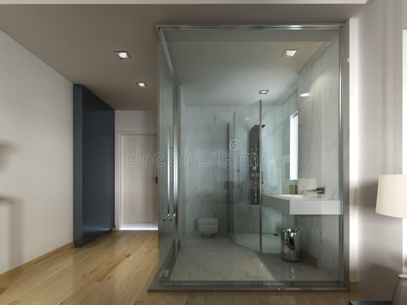 Une chambre d'hôtel de luxe dans une conception contemporaine avec la salle de bains en verre illustration stock
