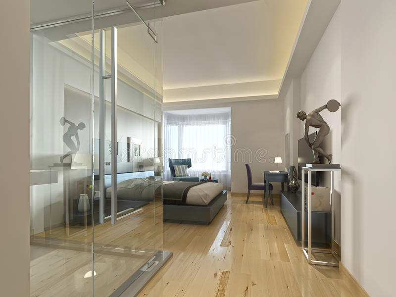 Une chambre d'hôtel de luxe dans une conception contemporaine avec la salle de bains en verre illustration de vecteur