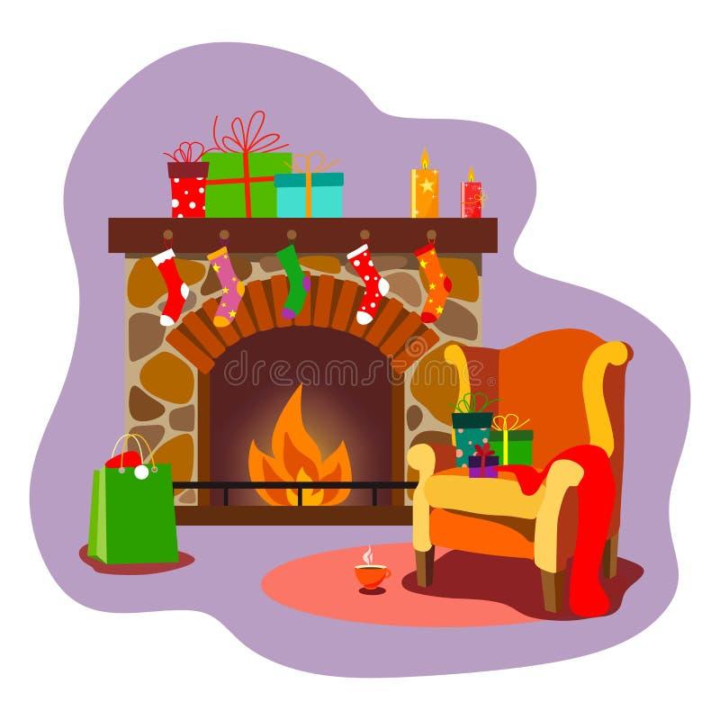 Une cheminée confortable pendant Noël ou la nouvelle année avec les cadeaux, bougies et chaussettes, avec une chaise confortable  illustration de vecteur