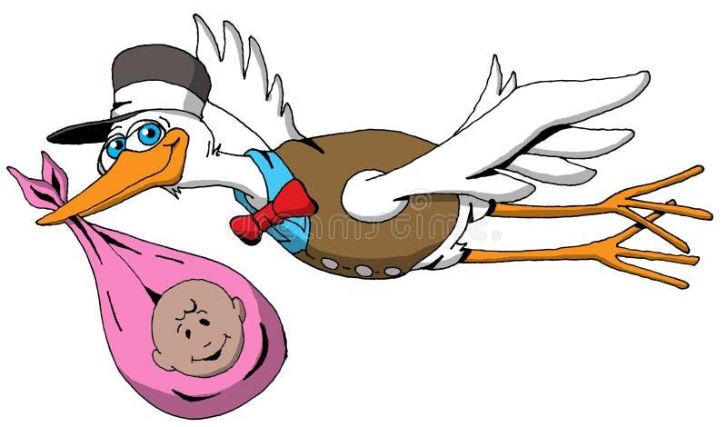 Une cigogne très heureuse sur son chemin de livrer un bébé illustration stock