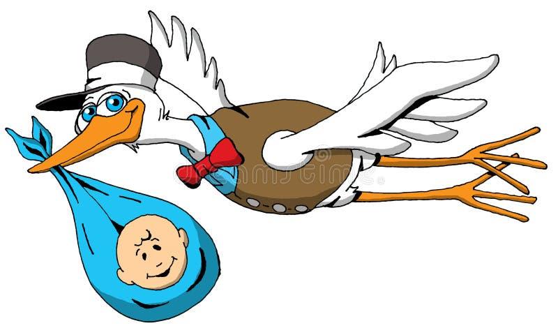 Une cigogne très heureuse sur son chemin de livrer un bébé illustration de vecteur