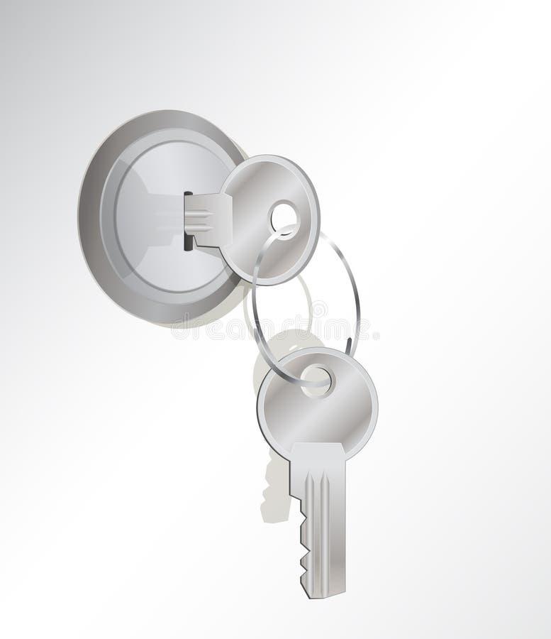 Une clé en métal dans un blocage. des autres sur le porte-clés image stock