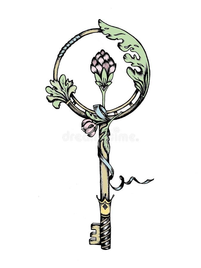 Une clé fabuleuse avec le décor et le ruban floraux images libres de droits
