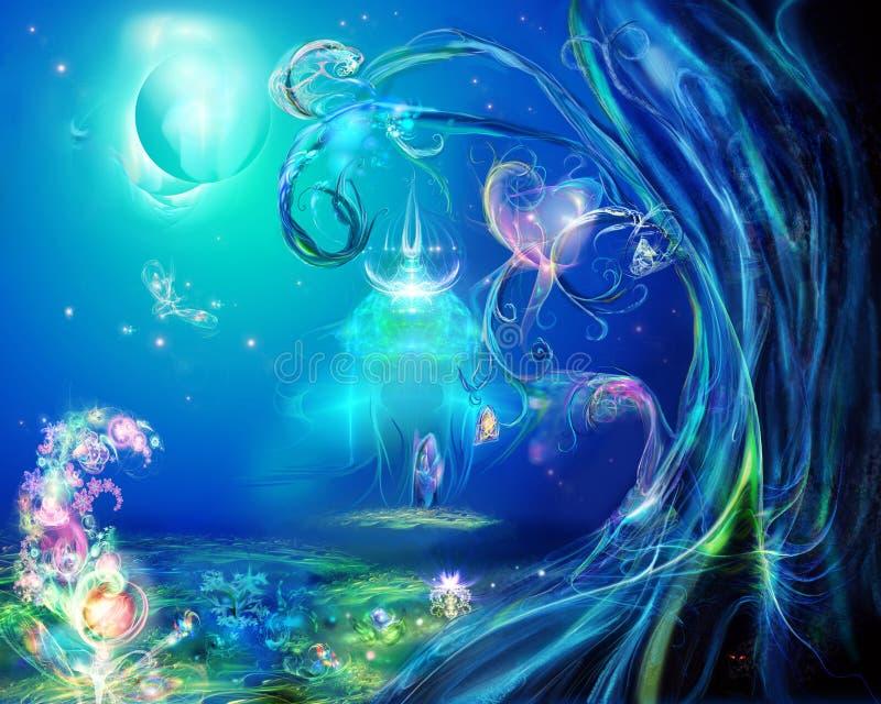 Une clairière est dans la forêt magique illustration stock
