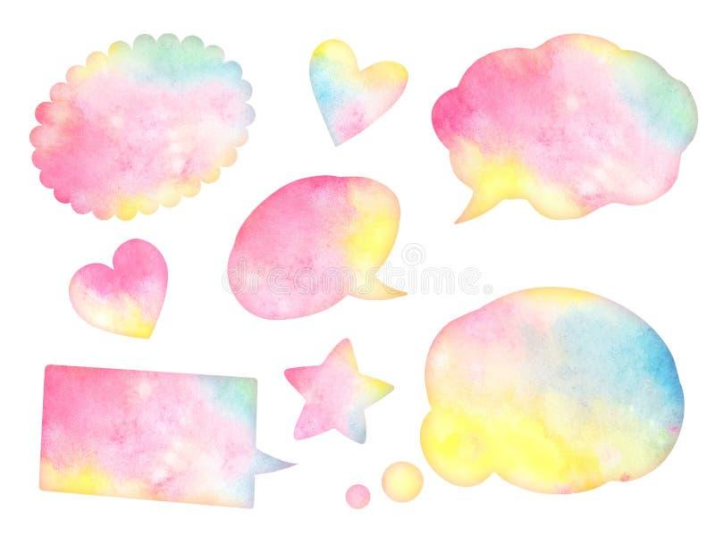 Une collection de bulles colorées de la parole d'aquarelle illustration stock