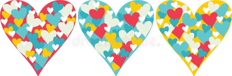 Une collection de coeurs modernes en collage de Valentine de coeurs photo libre de droits