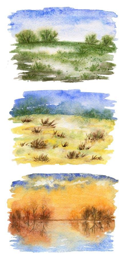 Une collection de croquis de paysage : ressort, été, automne illustration de vecteur