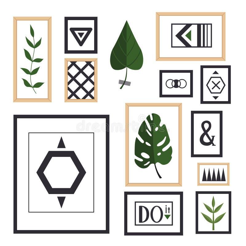 Une collection de peintures et d'usines dans les cadres dans des styles scandinaves Formes géométriques au cadre, au monstera et  illustration stock