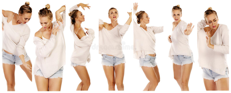 Une collection de photos d'une belle femme de danse photographie stock