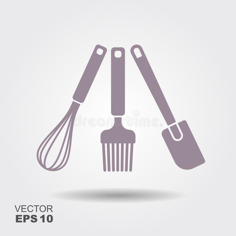 Une collection de silhouettes d'ustensile de cuisine de vecteur La cuisson de la spatule, battent et une brosse à cuire illustration de vecteur