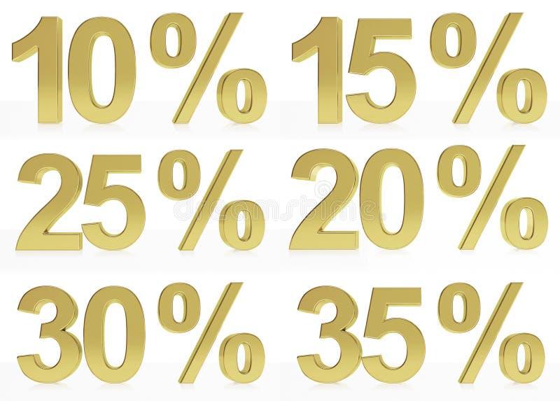 Une collection de symboles d'or for10, 15, 20, 25, 30, 35 % illustration stock