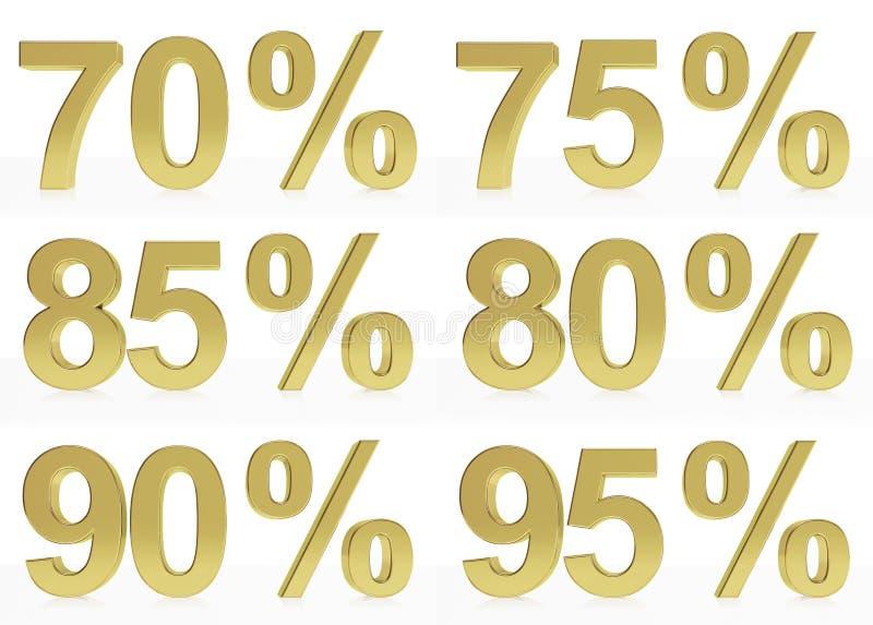 Une collection de symboles d'or pour 70, 75, 80, 85, 90, 95 % illustration stock