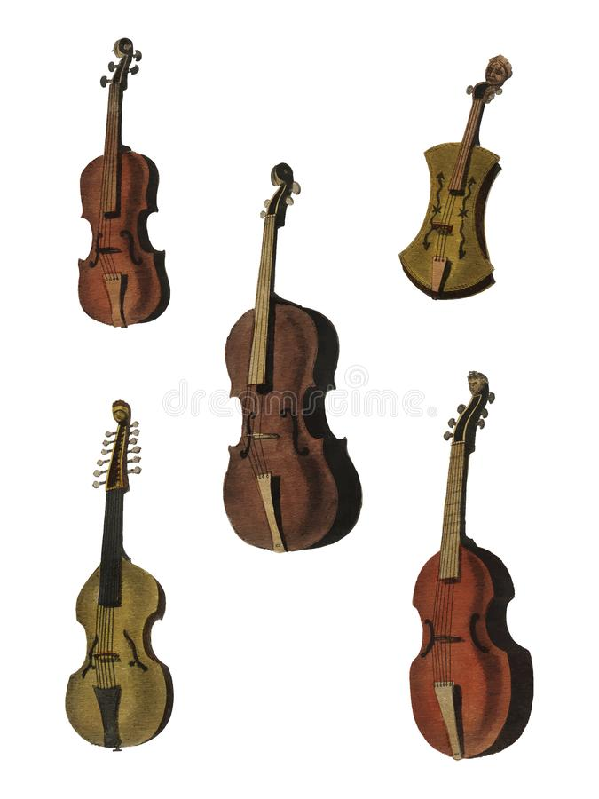 Une collection de violon, d'alto, de violoncelle et de plus antiques de l'encyclopédie illustration stock